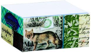 papier und feder. Sticky Note Block Natura blau