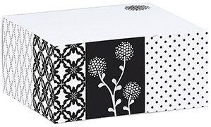 Papier und Feder. Sticky Note Block black&white Floral