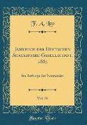 Jahrbuch der Deutschen Shakespeare-Gesellschaft, 1885, Vol. 20