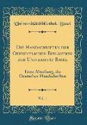 Die Handschriften der Oeffentlichen Bibliothek der Universität Basel, Vol. 1