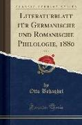 Literaturblatt für Germanische und Romanische Philologie, 1880, Vol. 1 (Classic Reprint)