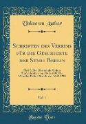 Schriften des Vereins für die Geschichte der Stadt Berlin, Vol. 1