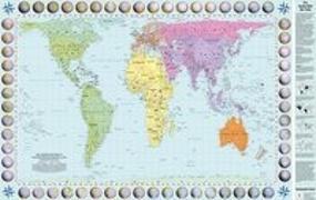 Die Länder der Erde in flächentreuer Darstellung - Peters Projektion - Flächenmaßstab 1:630 609 475