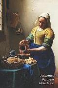 Johannes Vermeer Notizbuch: Die Melkerin - Trendy Liniertes Notizbuch - Softcover, 100 Seiten