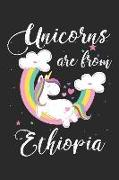 Unicorns Are from Ethiopia: A Blank Lined Unicorn Journal for Travelers or People from Ethiopia, Makes a Great Ethiopia Gift, Ethiopia Journal, or