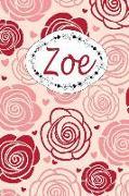 Zoe: Personalisiertes Notizbuch / 150 Seiten / Punktraster / CA Din A5 / Rosen-Design