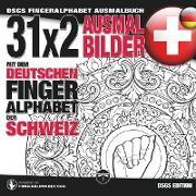 31x2 Ausmalbilder mit dem deutschen Fingeralphabet der Schweiz