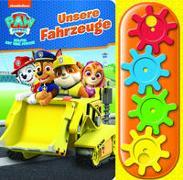 PAW Patrol - Unsere Fahrzeuge - Interaktives Pappbilderbuch mit 4 Zahnrädern und 5 Geräuschen für Kinder ab 3 Jahren