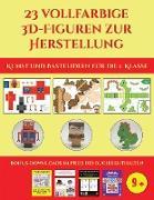 Kunst und Bastelideen für die 1. Klasse (23 vollfarbige 3D-Figuren zur Herstellung mit Papier)
