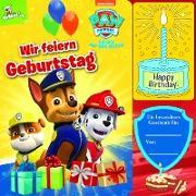 PAW Patrol - Wir feiern Geburtstag - Interaktives Geburtstags-Soundbuch mit 1 Melodie und leuchtender Kerze - Pappbilderbuch für Kinder ab 12 Monaten
