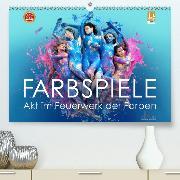 FARBSPIELE - Akt im Feuerwerk der Farben(Premium, hochwertiger DIN A2 Wandkalender 2020, Kunstdruck in Hochglanz)