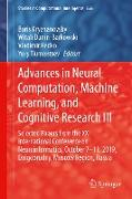 Advances in Neural Computation, Machine Learning, and Cognitive Research III