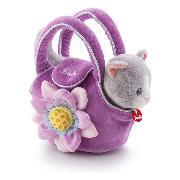 Katze in Tasche mit Blume