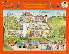 Wimmel-Rahmenpuzzle Herbst Motiv Wohnhaus 48 Teile