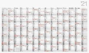 rido Wandkalender 2021 Modell Office II 114 x 68,5 cm