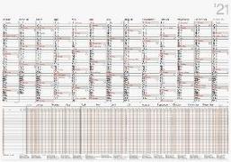 rido Wandkalender 2021 Plakatkalender kombiniert mit Urlaubsplaner für 26 Mitarbeiter 98 x 68,5 cm