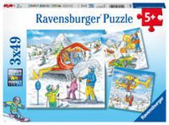 Auf der Skipiste. Puzzle 3 x 49 Teile