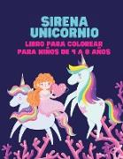 Sirena Unicornio libro para colorear para niños de 4 a 8 años