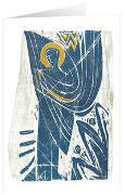 Blauer Bote - Kunst-Faltkarten m.Goldprägung ohne Text (5 Stück)