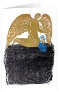 Umsorgender Engel - Kunst-Faltkarten m.Goldprägung ohne Text (5 Stück)