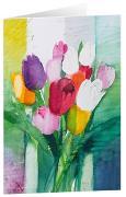 Tulpenstrauß 2 - Kunst-Faltkarten ohne Text (5 Stück)