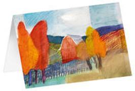 Herbstlaub - Kunst-Faltkarten ohne Text (5 Stück)